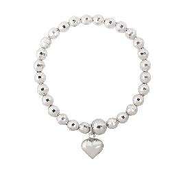 [ALLBRILLE] Sterling Silver 92.4% Spring Chain Mirror Ball Heart Bracelet
