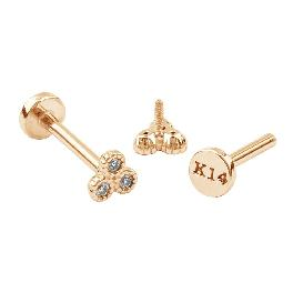 14K Gold 3 Stones Flower Tragus Earrings Piercing PL 026
