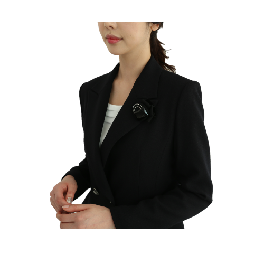 Black-Rose Wool Corsage Jacket