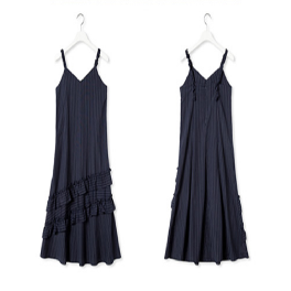 [2ndSWBD] FRILL POINT FLARE DRESS_NAVY
