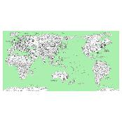 Dream Sky D-MAP Decorative Coloring Painting DIY Paper World Map - Emerald GREEN