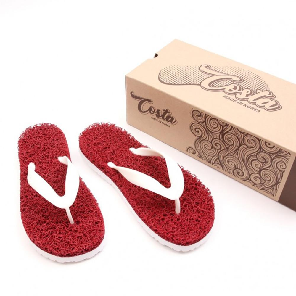 Costa Coil Beach Sandal Women's Men's Summer Casual Flip Flop Slipper Made of PVC Coil Mat - Red