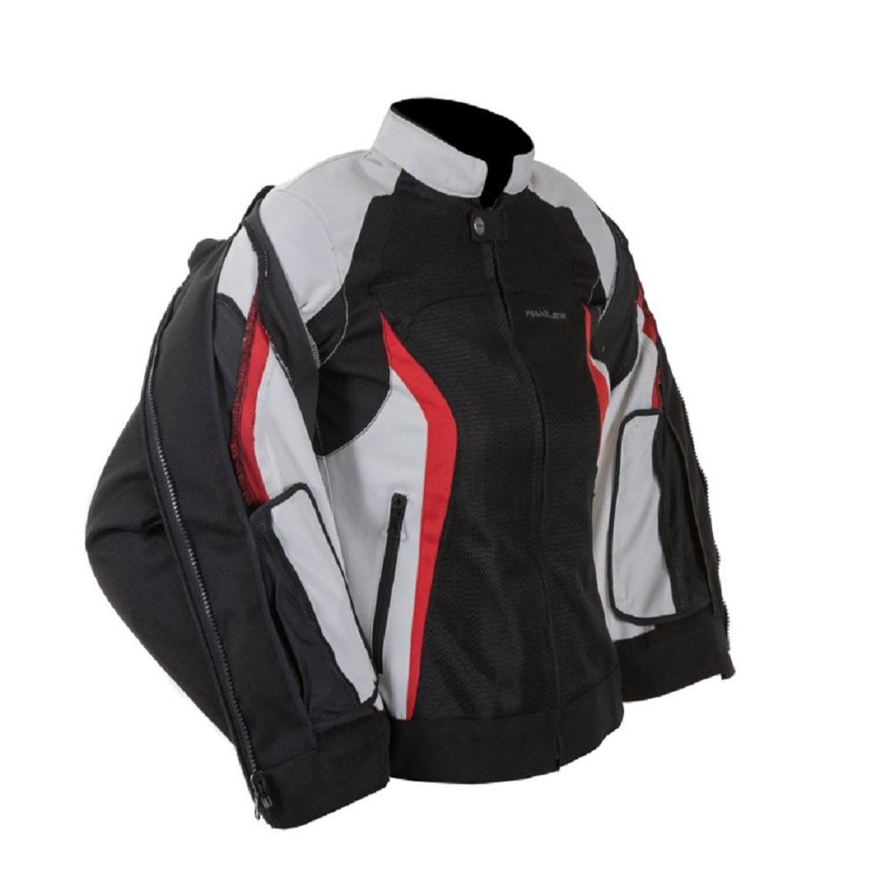 [MAXLER] Double Mesh Jacket for Women Motorcycle Motorbike Biking (Black/Red)