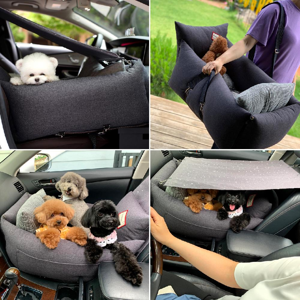 DUGROO Handmade All-Round Driving Kit Sunshade Pet Car Seat Dog Puppy Non-Slip Cushion Booster Seat