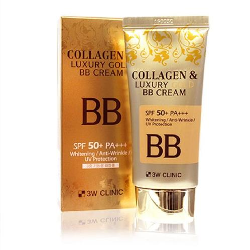 [3W CLINIC] Collagen & Luxury Gold BB Cream (SPF50+/PA+++) 50ml - Korea Cosmetic | Collagen, BB Cream, BB, make-up, matte, shiny, glow, glossy