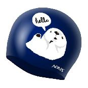 AQUS Swimming  Cap Silicone Animal Swim Hat Hello Sea Otter AC1614 NVY