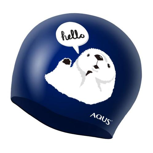 AQUS Swimming  Cap Silicone Animal Swim Hat Hello Sea Otter AC1614 NVY | swim, swimming, triathlon, openwater, sea, pool, silicone, no, leaking, professional, racing, cap, hat, hair, ear, cover,