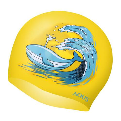 AQUS Silicone Swimming Cap - AC1802 Super Whale YEL | swim, swimming, triathlon, openwater, sea, pool, silicone, no, leaking, professional, racing, cap, hat, hair, ear, cover,