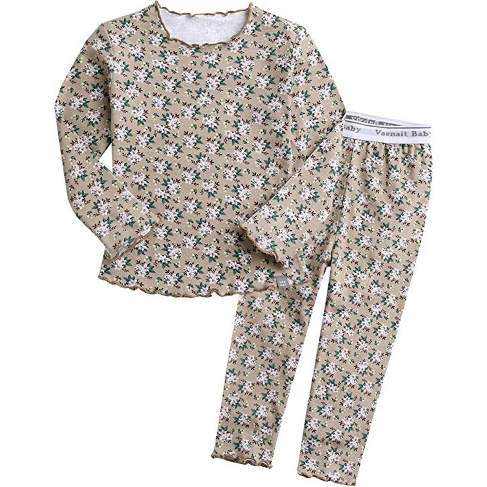 Vaenait baby 12M-7T Kids Girls 100% Cotton Flower Pattern Sleepwear Pajama Pjs Set(Maybe Beige)