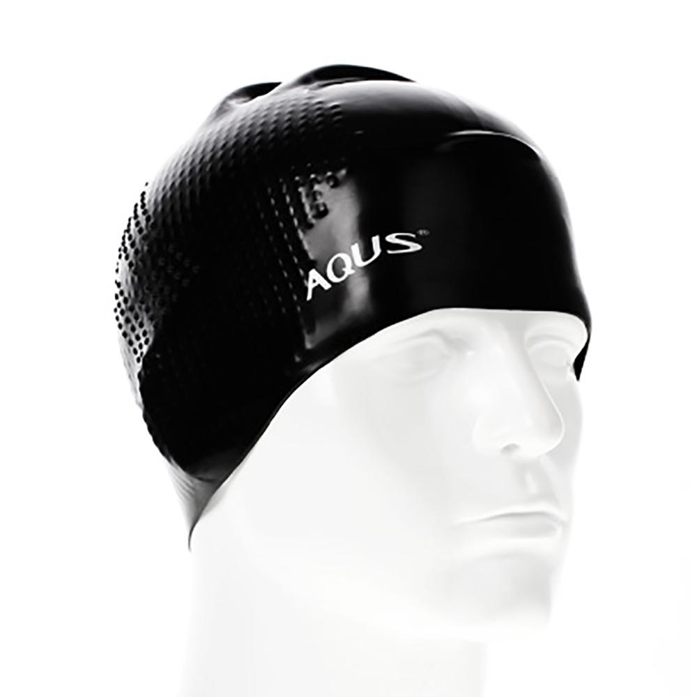 AQUS Silicone Swimming Cap - AC1706 No Wrinkle Embossing BLK