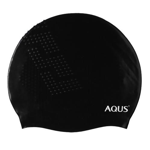 AQUS Silicone Swimming Cap - AC1706 No Wrinkle Embossing BLK | swim, swimming, triathlon, openwater, sea, pool, silicone, no, leaking, professional, racing, cap, hat, hair, ear, cover,