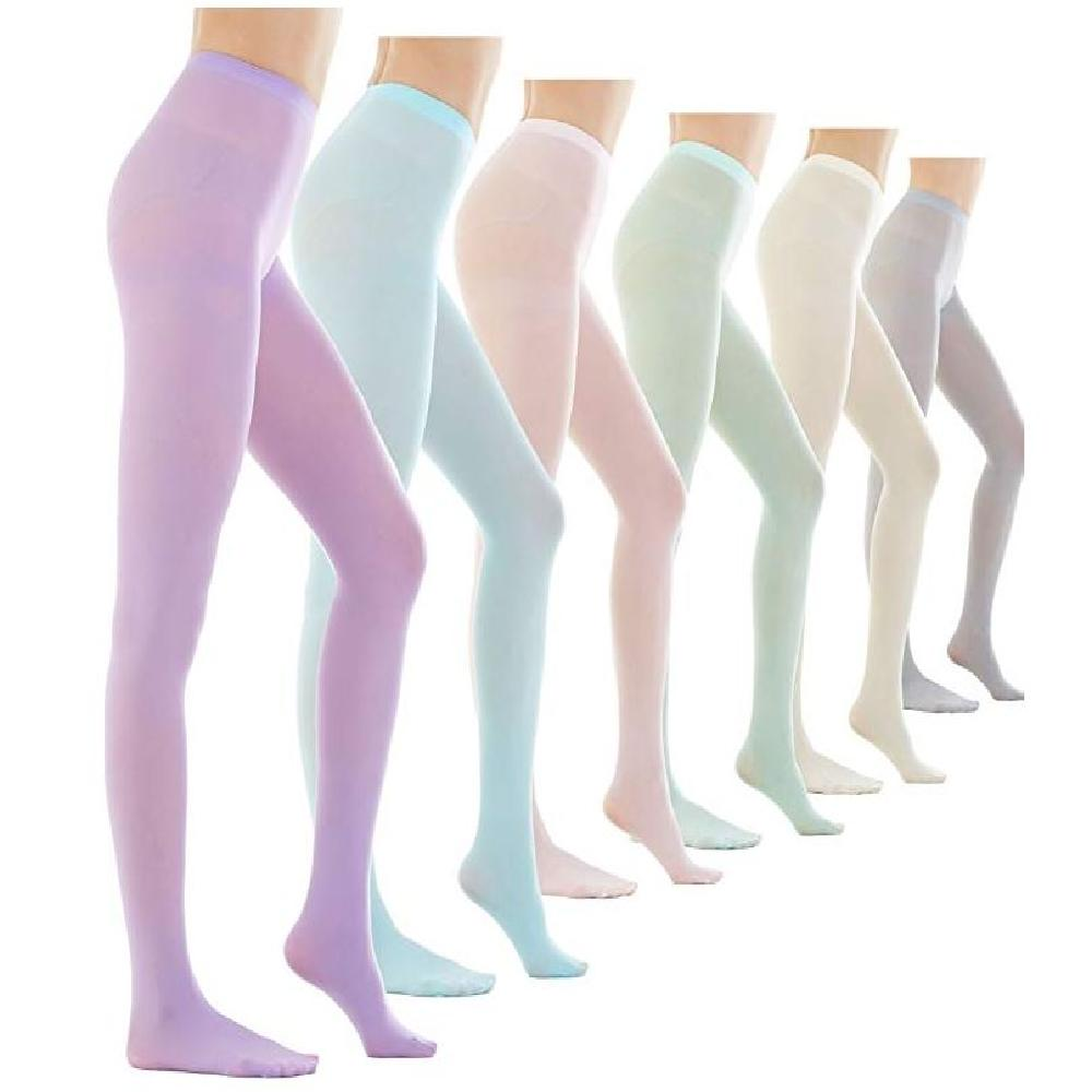 Womens 80 Denier Semi Opaque Solid Color Footed Pantyhose Tights_Lavender
