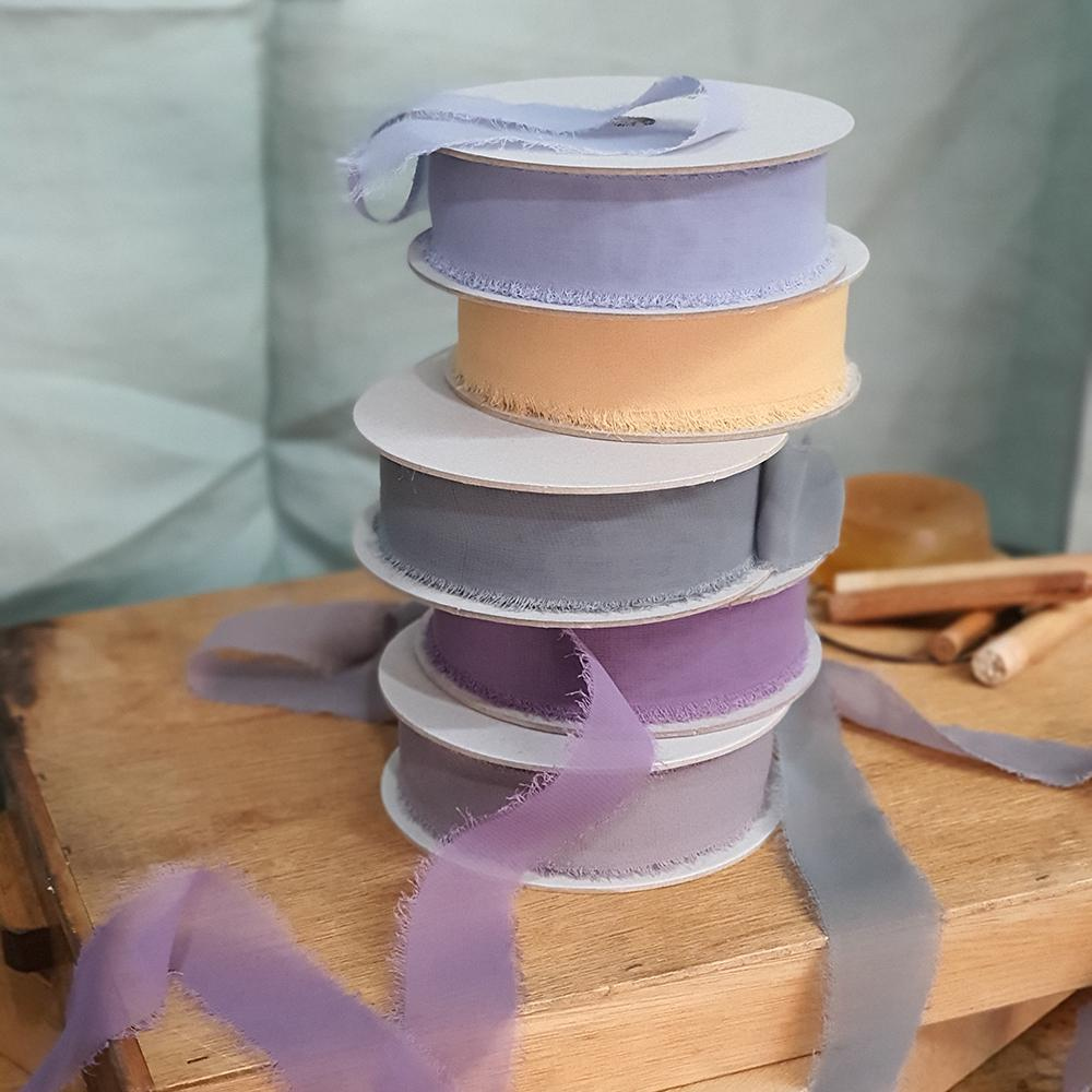 Segovia Frayed Edges Chiffon Ribbon - Porcelain
