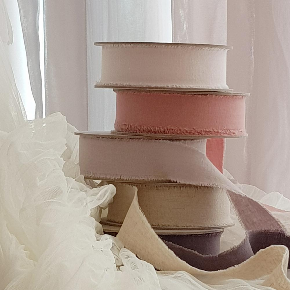Adelyn Frayed Edges Linen Ribbon - Cotton Candy