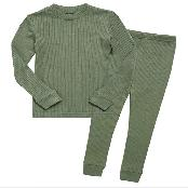 12M-8T Girls & Boys Short/Long Soft Rib Knit Shirring Ribbing Tencel Fabric Sleepwear Pajamas
