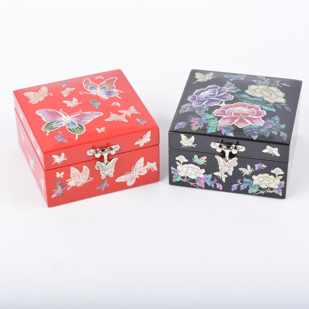 [Living Total Art] mother of pearl jewelry box-mini squre /red and black
