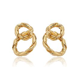 elluna Plated 14K Gold Double Round Diacut Twisted Ring Earrings