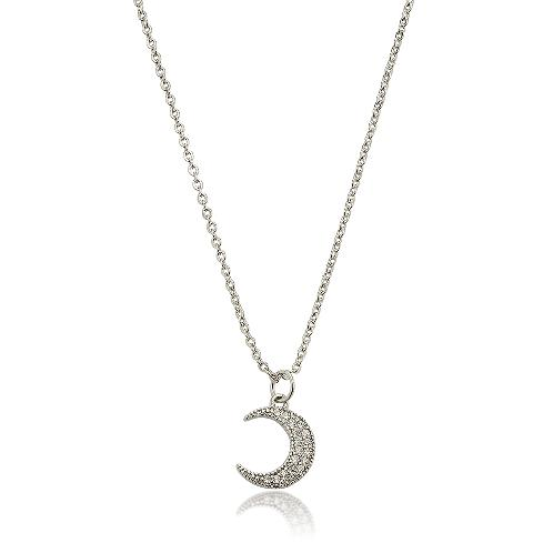 "elluna Delicate Cubic Moon Pendant Necklace, 16+3"" - Silver 