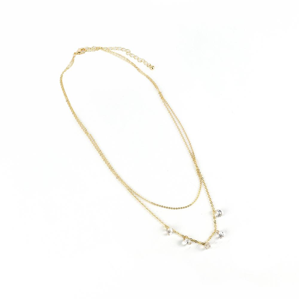 "elluna 2 Row Cubic Stationed Necklace, 16+3"" - Gold"