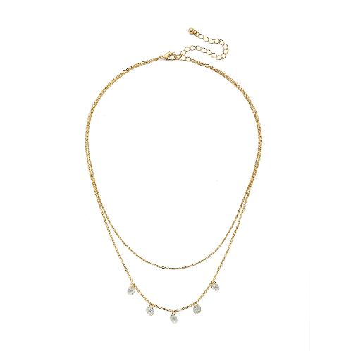 "elluna 2 Row Cubic Stationed Necklace, 16+3"" - Gold 