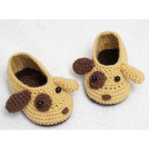 Baby Shoes - Dog | baby, baby shoes, mocca shoes, knit, crochet, woolen yarn, pale pink, ivory, mustard, blue, navy, cinnamon, brown, deep aqua, khaki