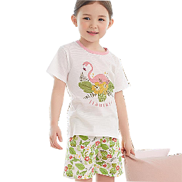 FLAMINGO, Short-sleeve Spring/Summer set, 100% natural cotton, jacquard