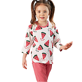 COOL COOL WATERMELON; 3/4-sleeve Spring/Summer set, 100% natural cotton, Slub