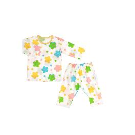 OH MY FLOWER; 3/4-sleeve Spring/Summer set, 100% natural cotton, Slub