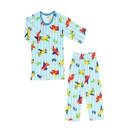 FLYING AIRPLANE; 3/4-sleeve Spring/Summer set, 100% natural cotton, Jacquard