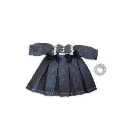 Twinsdoll Handmade OB11 Doll Clothes Ribbon Baby Doll Dress(Gray, Cherry Red) & Pearl Bracelet Set
