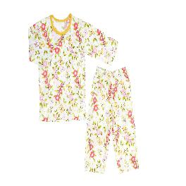 GIVING YOU FLOWER; 3/4-sleeve Spring/Summer set, 100% natural cotton, Jacquard