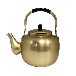 Living Korea Nickel-Silver Plated Aluminum Yellow Kettle Vintage Retro Korean Traditional Liquor