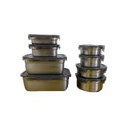 METALCOOK Metal Lock Container 8-Type Sets High-Quality Stainless-Steel Food Storage Various Sizes