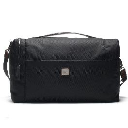 ONERM Oversized Travel Luggage Logo Duffel Genuine Leather Bag With Inner Pouch (Black)